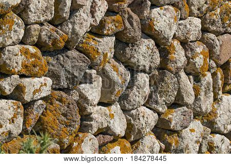 Dry stone wall with lichen on Greek island of Lesvos.