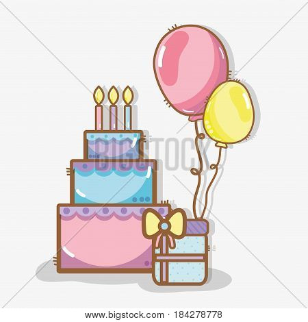 line cake with balloons and gift birthday celebration, vector illustration