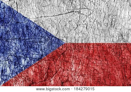 Grudge stone painted Czech Republic flag close
