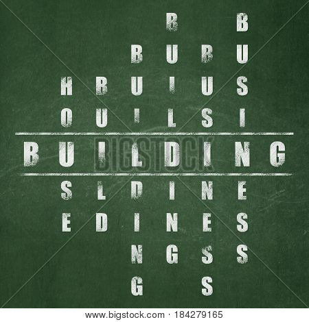 Constructing concept: Painted White word Building in solving Crossword Puzzle on School board background, School Board