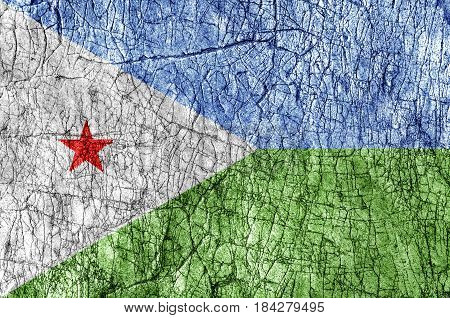 Grudge stone painted Djibouti flag close up