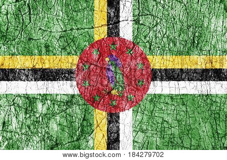 Grudge stone painted Dominica flag close up