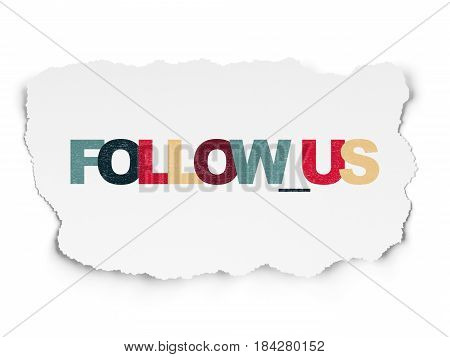 Social network concept: Painted multicolor text Follow us on Torn Paper background