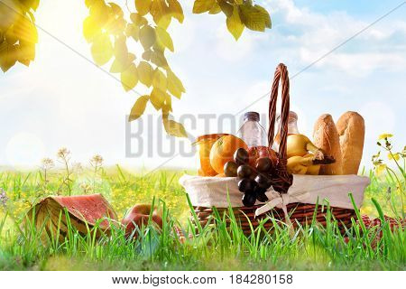 Picnic Wicker Basket With Food On Grass In The Field