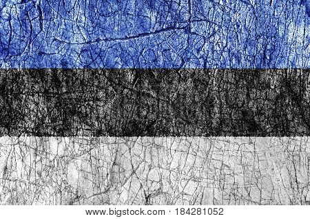 Grudge stone painted Estonia flag close up
