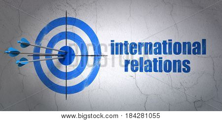 Success politics concept: arrows hitting the center of target, Blue International Relations on wall background, 3D rendering