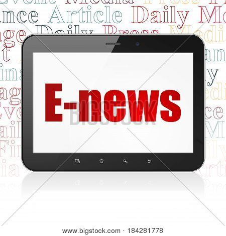 News concept: Tablet Computer with  red text E-news on display,  Tag Cloud background, 3D rendering