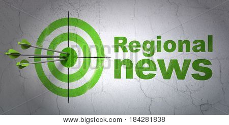 Success news concept: arrows hitting the center of target, Green Regional News on wall background, 3D rendering