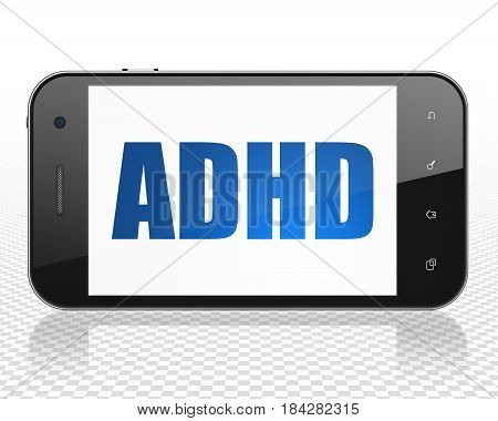 Medicine concept: Smartphone with blue text ADHD on display, 3D rendering