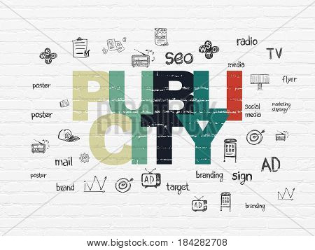 Advertising concept: Painted multicolor text Publicity on White Brick wall background with  Hand Drawn Marketing Icons