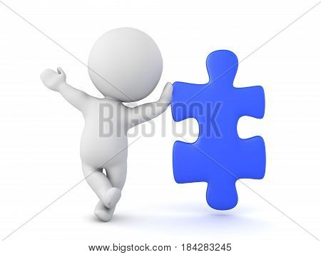 3D Character leaning on blue jigsaw puzzle piece. A playful image with a blue puzzle piece.