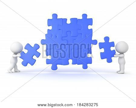 3D Characters placing puzzle pieces into jigsaw puzzle. Image can convey teamwork and cooperation.