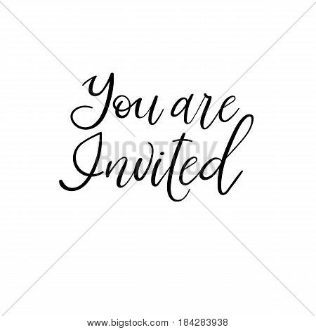 Wedding typography templates. Vector handwritten calligraphy. You are invited. Wedding typography templates. Vector handwritten calligraphy.