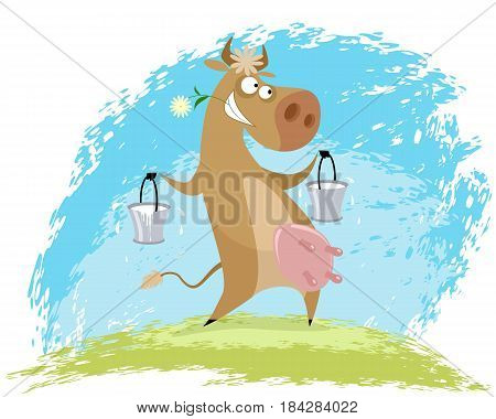 Vector illustration of a cow with pails