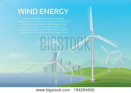 An ecologically clean beach and a city with wind turbines. Vector illustration.