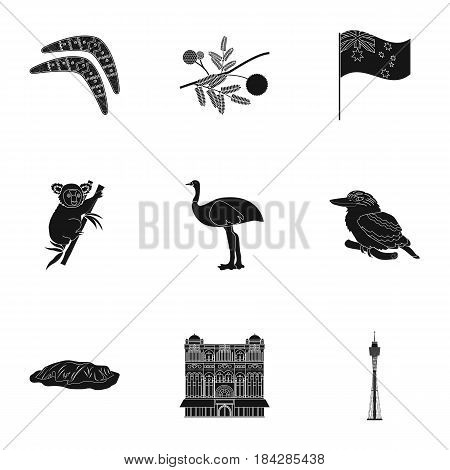 National symbols of australia. Web icon on Australia theme.Australia icon in set collection on black style vector symbol stock web illustration.
