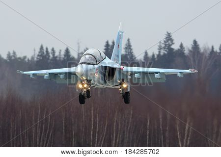 KUBINKA, MOSCOW REGION, RUSSIA - APRIL 10, 2017: Yakovlev Yak-130 RF-81684 training aircraft of Russian air force during Victory Day parade rehearsal at Kubinka air force base.