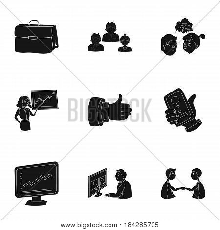 A set of pictures about the transaction, work, office. Office center, analytics.Business conference and ntgotiations icon in set collection on black style vector symbol stock web illustration.