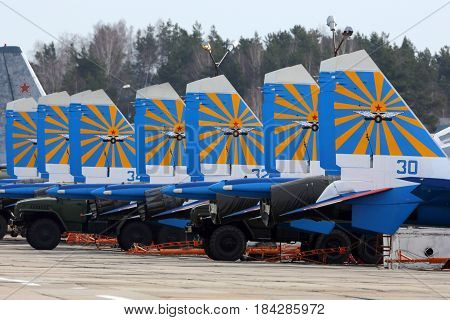 KUBINKA, MOSCOW REGION, RUSSIA - APRIL 21, 2017: Sukhoi Su-30SM 36 BLUE Russian Knights aerobatics team of Russian air force during Victory Day parade rehearsal at Kubinka air force base.