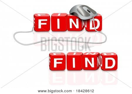 find online search internet button red dices spelling the word find with or without mouse