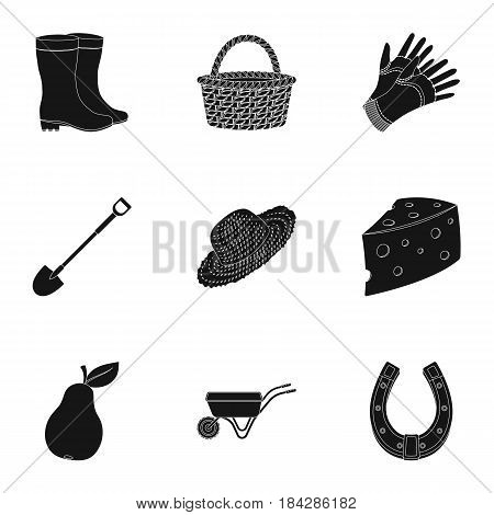 Set of pictures about gardening. Village, vegetable garden, garden, ecology.Farm and Gardening icon in set collection on black style vector symbol stock web illustration.