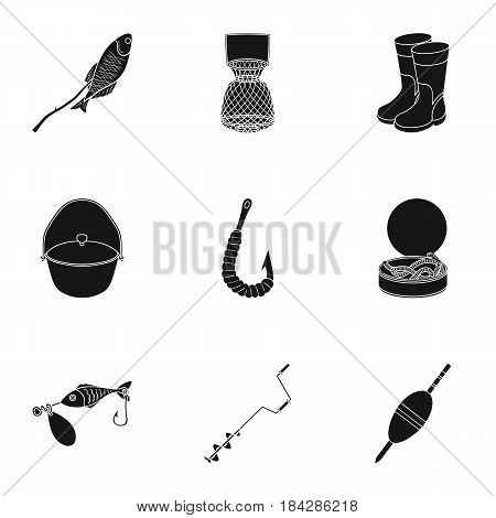 Summer and winter fishing, outdoor recreation, fishing, fish.Fishing icon in set collection on black style vector symbol stock web illustration.