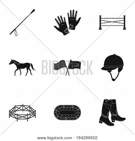 Races on horseback, hippodrome. Horse racing and equipping riders.Hippodrome and horse icon in set collection on black style vector symbol stock web illustration.