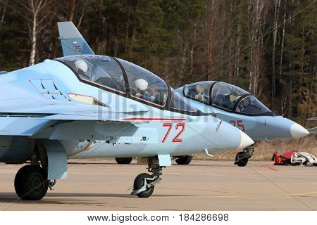 KUBINKA, MOSCOW REGION, RUSSIA - APRIL 21, 2017: Yakovlev Yak-130 training airplanes of Russian air force during Victory Day parade rehearsal at Kubinka air force base.