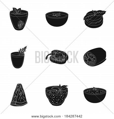 Pictures about vegetarianism. Vegetarian dishes, food vegetarian. Vegetables, fruits, herbs, mushrooms. Vegetarian dishes icon in set collection on black style vector symbol stock web illustration.