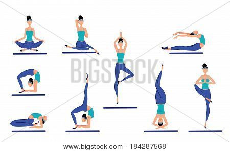 Colorful healthy women set with slim girls meditating in different poses and postures isolated vector illustration