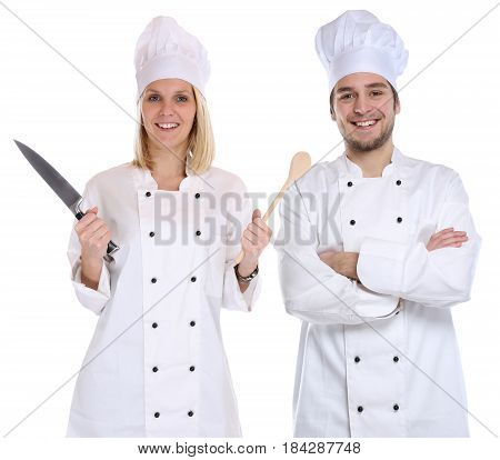 Cook Apprentice Trainee Trainees Cooks Cooking With Knife Spoon Job Young Isolated