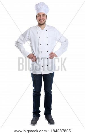 Cook Apprentice Trainee Cooking With Job Young Man Standing Isolated