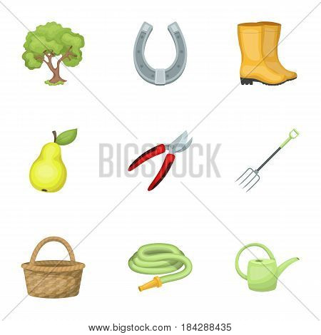 Set of pictures about gardening. Village, vegetable garden, garden, ecology.Farm and Gardening icon in set collection on cartoon style vector symbol stock web illustration.