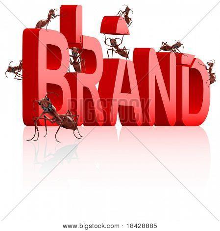 Marken-Entwicklung oder Erstellung von starken roten Namen