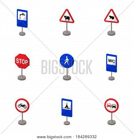 Set of road signs. Signs of prohibition, permission, priority. Road signs icon in set collection on cartoon style vector symbol stock web illustration.