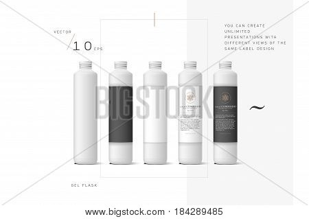 Realistic white cosmetic cream container. Mock up bottle. Gel, powder, balsam and oil, with design label. Containers for bulk mixtures.