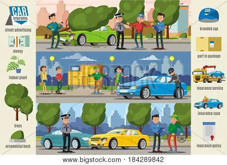 Car insurance cases infographic horizontal banners with natural disaster theft accident and street elements vector illustration
