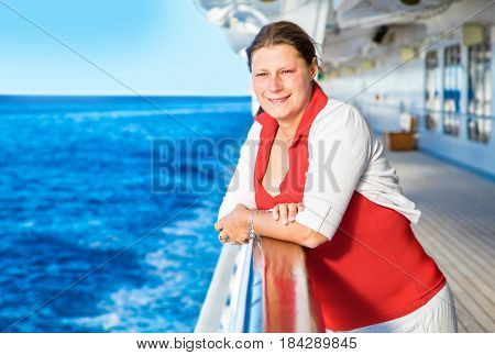 a Young woman on cruise ship deck