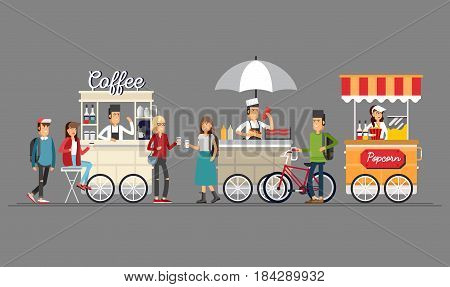 Creative detailed vector street coffee cart, popcorn and hotdog shop with sellers. Young people buy street food or junk food in food festival event.