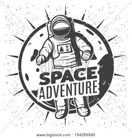 Monochrome vintage space research label template with inscription and astronaut in spacesuit on Mars planet landscape isolated vector illustration