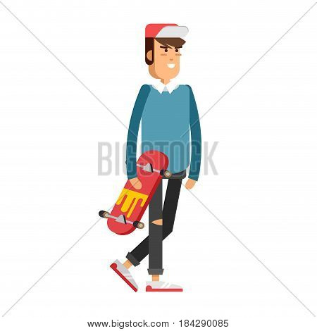 Cool vector hipster man character riding longboard skateboard.. Urban citizen male character