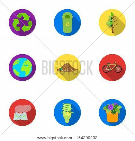 The ecology of the earth, the problems of ecology, ways to combat the ravages.Bio and Ecology icon in set collection on flat style vector symbol stock web illustration.
