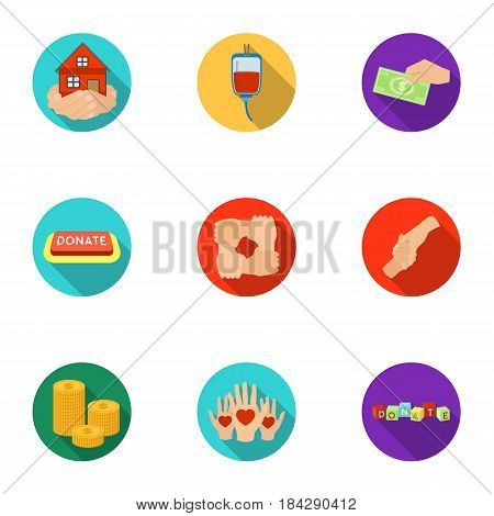 Charitable Foundation. Icons on helping people and donation.Charity and donation icon in set collection on flat style vector symbol stock web illustration.