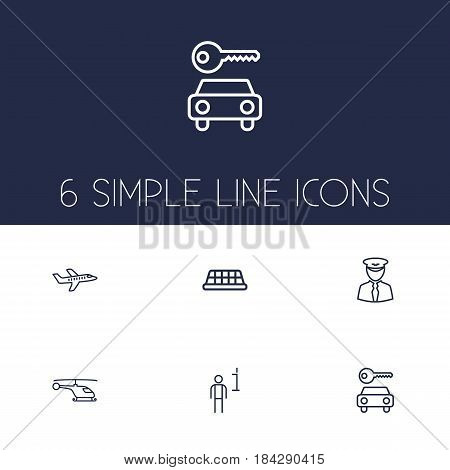 Set Of 6 Aircraft Outline Icons Set.Collection Of Plane, Helicopter, Taxi And Other Elements.