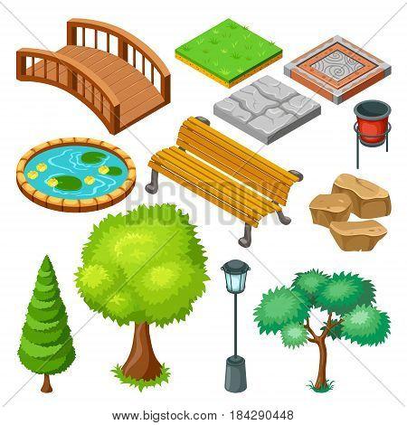 Isometric summer park landscape elements set with plants trees grass pond bench stones trash bridge isolated vector illustration