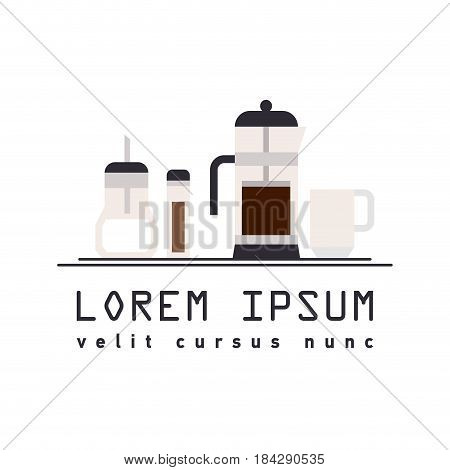 Vector illustration flat icon of French press coffee maker, cup, sugar-bowl and spice jars isolated on white background with typography template