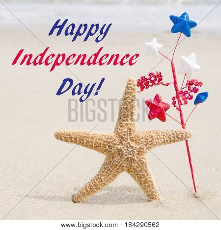 IIndependence Day USA background on the sandy beach near the ocean/ American Patriotic comcept square Instagram format