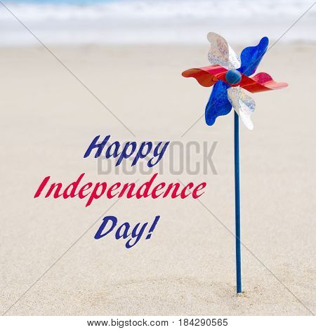 Independence Day USA background on the sandy beach near the ocean/ American Patriotic comcept square Instagram format