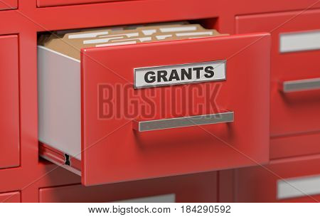 Grants Folders And Files In Cabinet In Office. 3D Rendered Illus