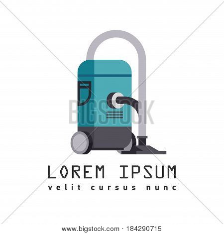 Vector flat icon - illustration of vacuum cleaner icon isolated on white background with typography block. Logo of household vacuum cleaner.